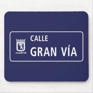 Tapis De Souris Mamie Vía, plaque de rue de Madrid, Espagne de