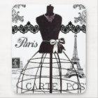 Tapis De Souris Mannequin blanc noir de mode de Paris