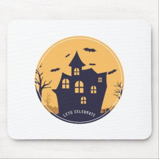 Tapis De Souris Manoir éffrayant et battes de Halloween