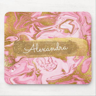 Tapis De Souris Marbre rose et blanc avec la feuille d'or et les