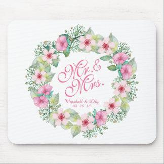 Tapis De Souris Mariage floral personnalisé | Mousepad d'aquarelle