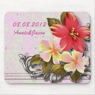 Tapis De Souris mariage tropical floral de ketmie vintage d'Hawaï