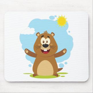 Tapis De Souris Mascotte heureuse de bande dessinée de Marmot