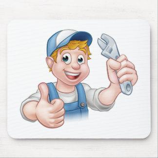 Tapis De Souris Mécanicien ou plombier de personnage de dessin