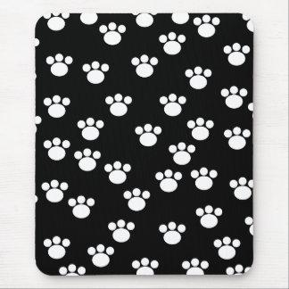 Tapis De Souris Modèle animal noir et blanc d'empreinte de patte