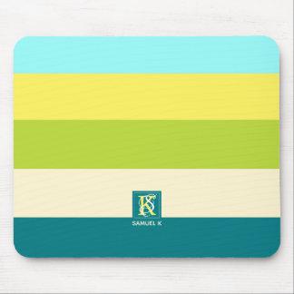 Tapis De Souris Monogramme coloré frais et heureux de rayures