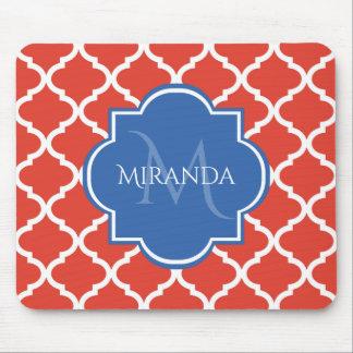 Tapis De Souris Monogramme et nom bleus rouges à la mode de