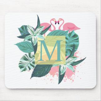 Tapis De Souris Monogramme floral tropical | Mousepad de mariage