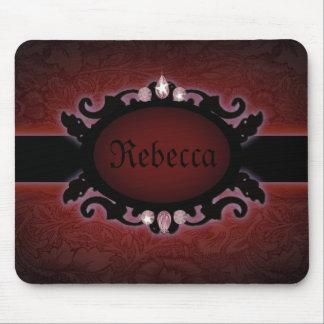 Tapis De Souris monogramme gothique noir et rouge de steampunk