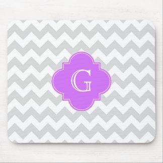 Tapis De Souris Monogramme lilas blanc gris de lt Chevron