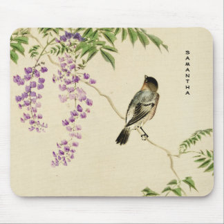 Tapis De Souris Monogramme lilas vintage japonais Mousepad de