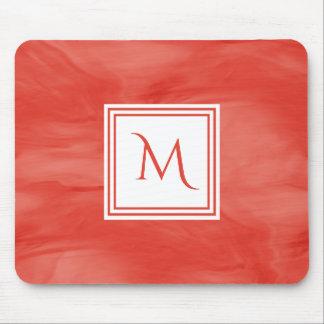 Tapis De Souris Monogramme moderne de marbre subtil orange rouge