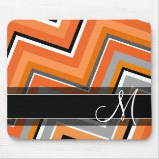 Tapis De Souris Monogramme orange gris de Chevron de noir chic de