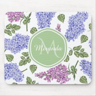 Tapis De Souris Monogramme vert en pastel floral lilas de lavande