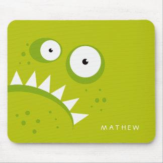 Tapis De Souris Monstre vert effrayant drôle fâché grincheux