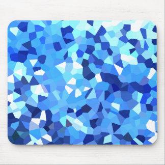 Tapis De Souris Mosaïque moderne bleue et de blanc en verre