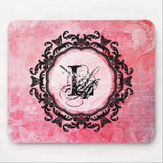 Tapis De Souris Motif chic de vieux rose rose romantique