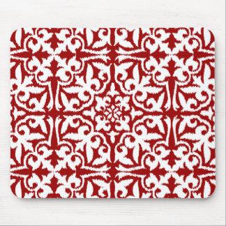 Tapis De Souris Motif de damassé d'Ikat - rouge foncé et blanc
