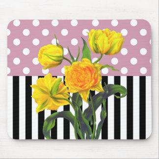 Tapis De Souris motif de point jaune de polka de tulipe