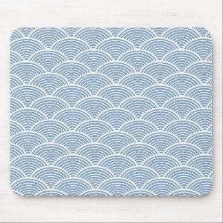 Tapis De Souris Motif de vague japonais dans bleu et blanc