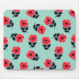 Tapis De Souris Motif floral de menthe décorative de rouge