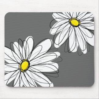 Tapis De Souris Motif floral lunatique dans le gris jaune