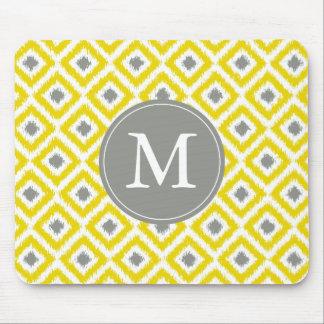 Tapis De Souris Motif gris jaune décoré d'un monogramme d'Ikat