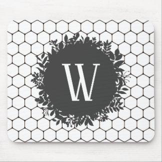 Tapis De Souris Motif noir et blanc de ruche avec le monogramme