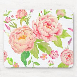 Tapis De Souris Motif rose de pivoine d'aquarelle