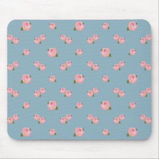 Tapis De Souris Motif rose de roses sur le bleu