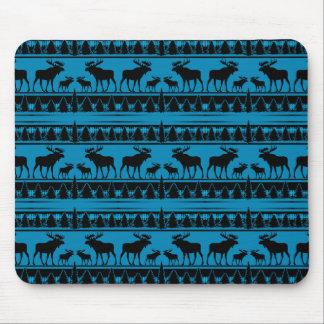 Tapis De Souris Motif rustique d'orignaux de plaid de bleu de