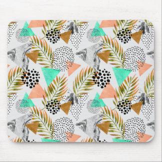 Tapis De Souris Motif tropical géométrique abstrait de feuille