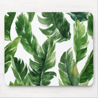 Tapis De Souris Motif tropical vert de feuille d'aquarelle