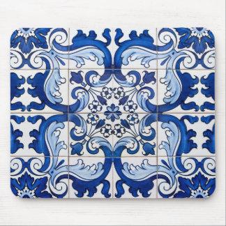 Tapis De Souris Motif vintage de tuile d'Azulejo