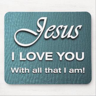Tapis De Souris Mousepad - Jésus je t'aime - turquoise