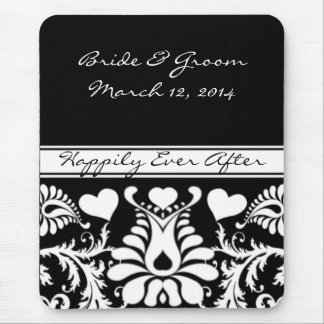 Tapis De Souris MousePad l'épousant floral vintage blanc et noir