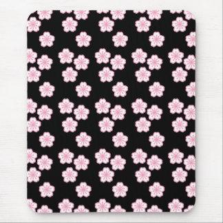 Tapis De Souris Mousepad noir de Sakura et rose floral