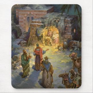 Tapis De Souris Nativité vintage de Noël avec les Magi de visite