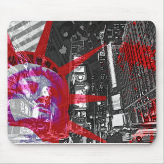 tapis de souris new york usa statue liberté rouge