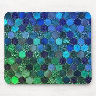 Tapis De Souris Nid d'abeilles de luxe de vert bleu de