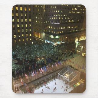 Tapis De Souris Noël dans la patinoire centrale de NYC Rockefeller