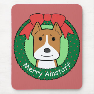 Tapis De Souris Noël du Staffordshire Terrier américain