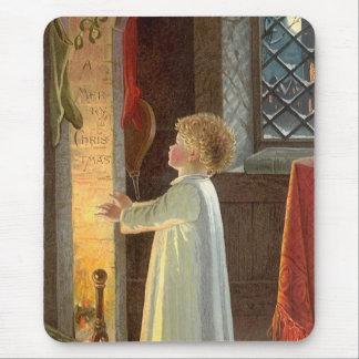 Tapis De Souris Noël vintage, enfant chauffant par la cheminée