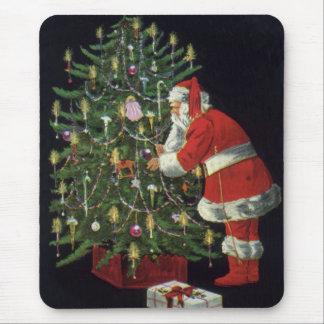 Tapis De Souris Noël vintage, le père noël avec des présents