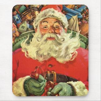 Tapis De Souris Noël vintage, le père noël dans Sleigh avec des