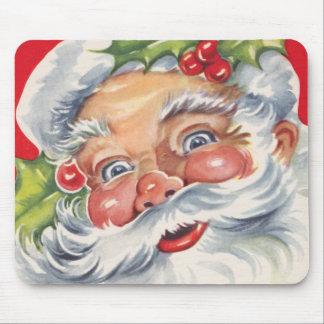 Tapis De Souris Noël vintage, le père noël gai avec son casquette