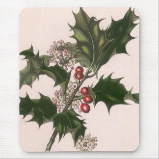 Tapis De Souris Noël vintage, usine de houx avec les baies rouges