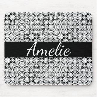 Tapis De Souris Nom noir et blanc Mousepad de dentelle de pixel