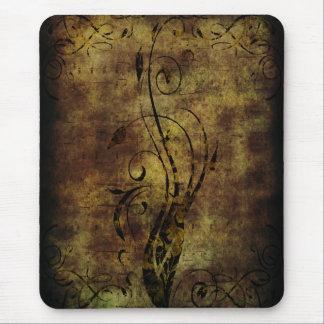 Tapis De Souris Notes florales et musicales grunges Brown rustique