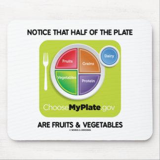 Tapis De Souris Notez que la moitié du plat sont des fruits et des